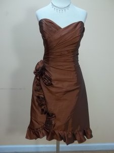 Impression Bridal Coffee Taffeta 20041 Formal Bridesmaid/Mob Dress Size 12 (L)