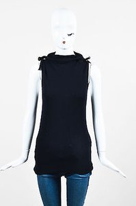Céline Navy Wool Mulberry Silk Turtleneck Sl Vest Sweater