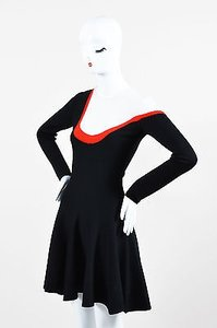 Dior short dress Black Christian Cream Red Wool Knit Striped Skater on Tradesy