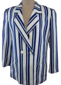 Lilli Ann Jacket Striped Blue and White Blazer