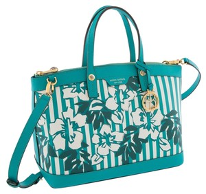 Henri Bendel Satchel in Green/Cream