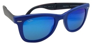 Ray-Ban New Ray-Ban Sunglasses FOLDING WAYFARER RB 4105 6020/17 Blue Frame w/Green Lens +Blue Mirror Lenses