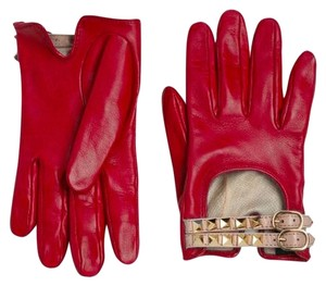 Valentino NWT/NIB $545 Valentino Gold Rockstud Red + Tan Double Strap Leather Gloves SZ 8