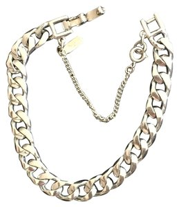 MONET MONET Vintage Silver Tone Link Bracelet w/Safety Chain Fashion Jewelry