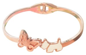 Fashion Jewelry For Everyone Butterfly Puppy Dog White Enamel Rose Gold Bangle