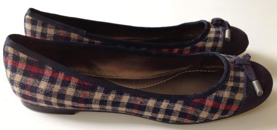 Lands End Navy/Tan/Red Plaid Flats