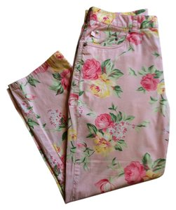 Ralph Lauren Pattern Stretchy Casual Capris Pink floral