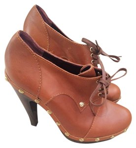 Max Mara Wood Leather Lace Up Designer Platform Fall Brown Boots