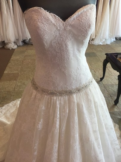David Tutera for Mon Cheri Ivory Lace Over Dark Ivory Gown with Silver Beading 113213 Dress Size 8 (M)