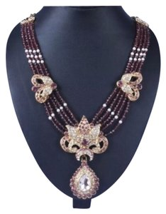 New Grape & Multi Crystal Blinged Out Authentic Indian Wedding Necklace & Earring Set