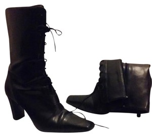 Splash Lace Square Heel Black Boots