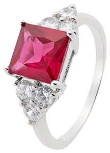 Freestyle Princess Gemstone Solitaire with Accents Ring in White Gold Plate