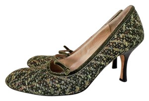 Façonnable Vintage Tweed Green Velvet Green Tweed Pumps
