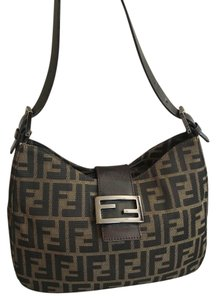 Fendi Zucca Monogram Leather Shoulder Bag