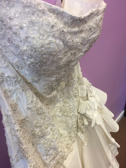 David Tutera for Mon Cheri Ivory Gown with Silver and Clear Beading 112200 Feminine Dress Size 14 (L)