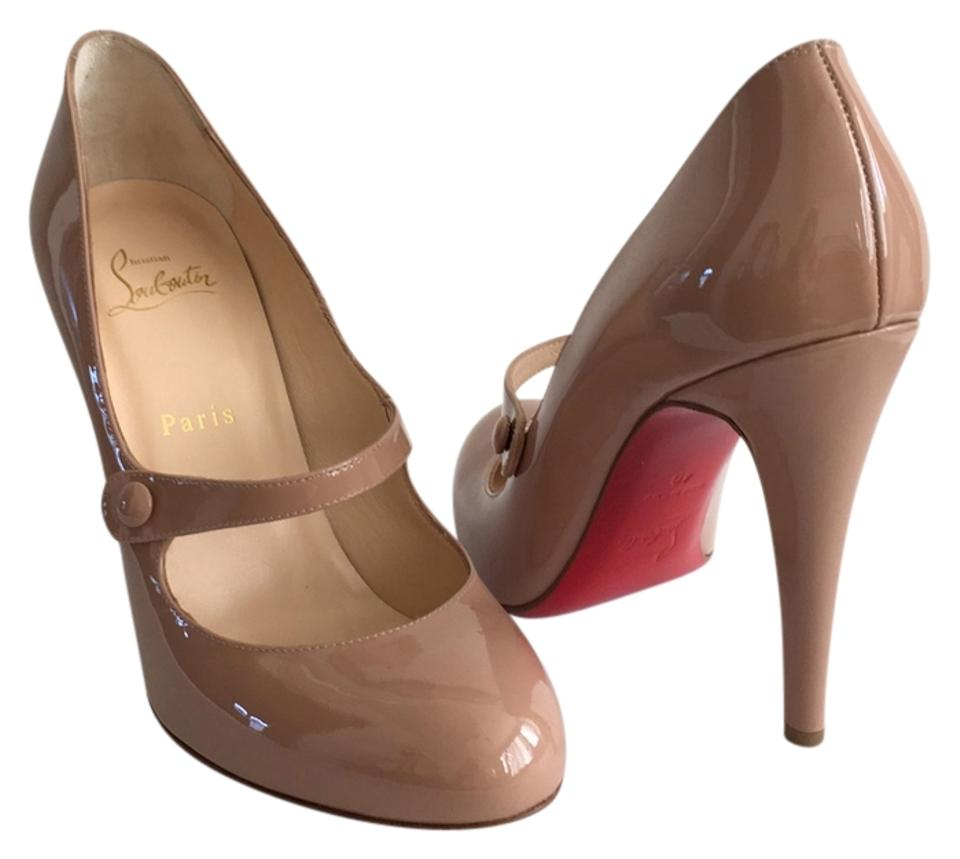 f0cea58f9be4 Christian Louboutin Charlene 100 Mary Jane Patent Leather Red Bottoms Nude  Pumps Image 0 ...