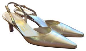 Salvatore Ferragamo Gold Pumps