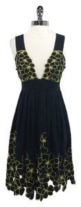 Catherine Malandrino short dress Black/Yellow Cotton on Tradesy