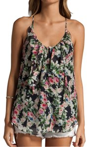 Rebecca Taylor Silk Chiffon Sleeveless Top Midnight Rose