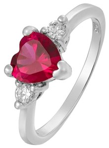 Freestyle Heart Gemstone Three-Stone Ring in White Gold Plated