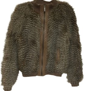 Vertigo Paris Faux Fur Fur Coat Bomber Zipper Leather Neutral Knit Winter Fall Autumn Trend Color Modern Cool Fab Stunning Chic Edgy Brown Jacket