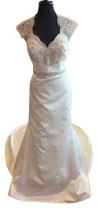 David Tutera for Mon Cheri Ivory Gown with Silver and Pearl Beading Satin Lace 113204 Traditional Dress Size 10 (M)