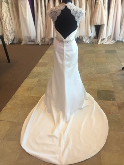 David Tutera for Mon Cheri Ivory Gown with Silver and Pearl Satin Lace 113204 Traditional Wedding Dress Size 10 (M)