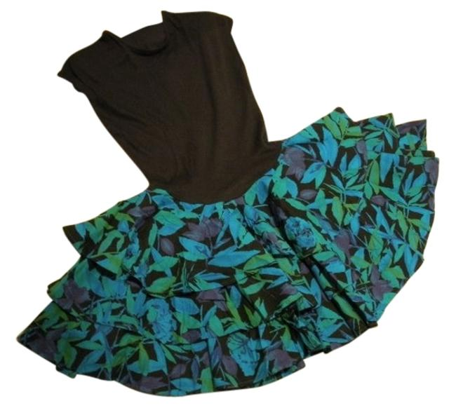 Item - Bright Blue/Bright Green/Purple Flowers On Black Knit Top + Print 3 Tier Ruffle Bottom Above Knee Night Out Dress Size 12 (L)
