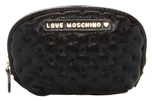 Love Moschino NEW LOVE Moschino Busta Metallic Embroidered Cosmetic Bag, Black