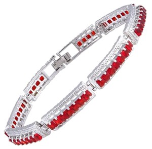 Freestyle Princess Gemstones Tennis Bracelets in White Gold Plated