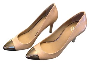 Ann Taylor Captoe Leather Mettallic Nude Pumps