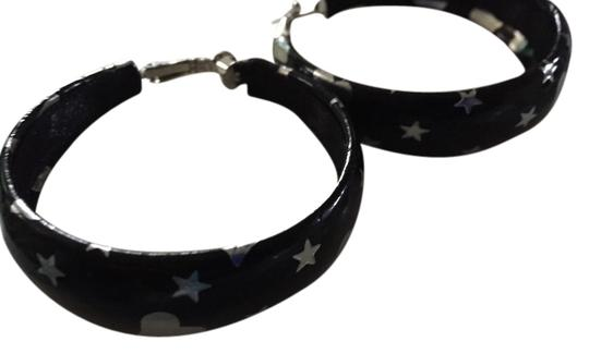 Unknown Black And Silver Hoop Earrings