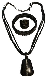Lia Sophia Lia Sophia black and Crystal necklace and bracelet with a matching ring. Free shipping