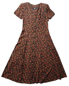 red/bright orange/gold/olive green on black floral print Maxi Dress by Dawn Joy