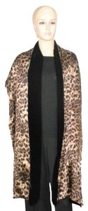 Ilana Wolf Neiman Marcus Black Velvet and Leopard Silk Wrap