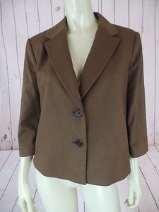 Ann Taylor Ann Taylor Blazer Coat Brown Fuzzy Wool Nylon Spandex Blend Retro Swing Chic