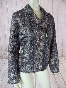 Chico's 1 Moto Style Cotton Poly Metallic Snake Print Off Center Zip Chic Black & Gold Jacket