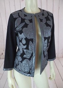 Other Victor Costa Occasion Blazer Coat Black Gray Cotton Spandex Faux Leather Chic