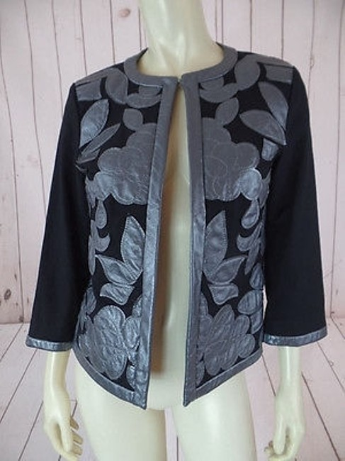 Other Victor Costa Occasion Blazer Coat Black Gray Cotton Spandex Faux Leather Chic Image 1