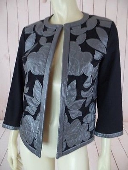 Other Victor Costa Occasion Blazer Coat Black Gray Cotton Spandex Faux Leather Chic Image 2