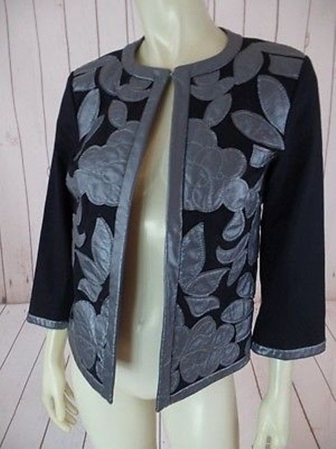 Other Victor Costa Occasion Blazer Coat Black Gray Cotton Spandex Faux Leather Chic Image 6