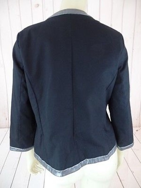 Other Victor Costa Occasion Blazer Coat Black Gray Cotton Spandex Faux Leather Chic Image 8