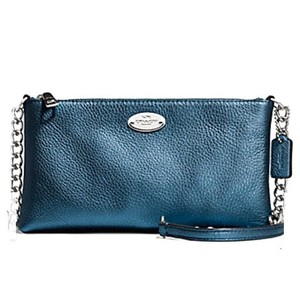 Coach Strap Strap Blue Leather Cross Body Bag