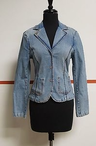 PARASUCO Parasuco Washed Blue Cotton Blend Snap Front Denim Blazer Great 10927