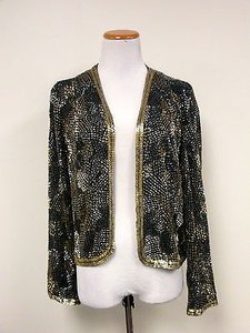 Marshall Rousso Marshall Rousso Black Long Sleeves Lined Embellish Evening Jacket Sma8112