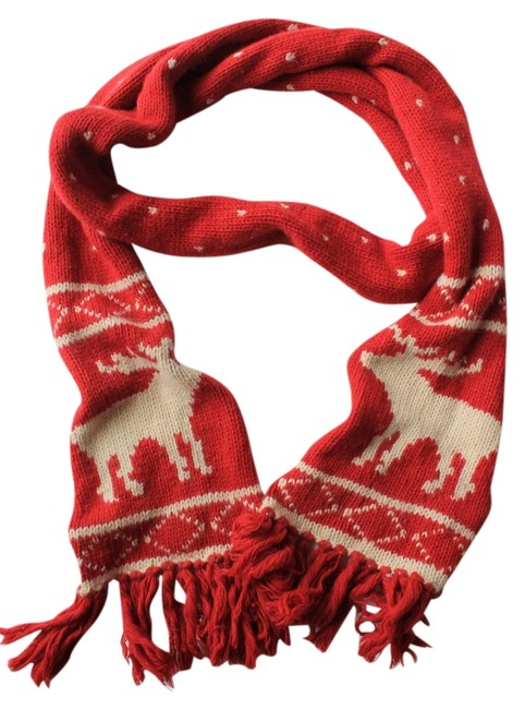 Item - Red with Cream Winter Scarf/Wrap