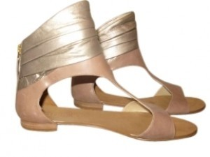 Guess By Marciano Turquoise Flat Ankle Cuff Description: Flat Leather Taupe and Gold Sandals