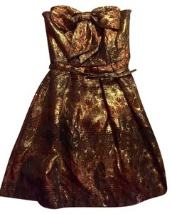 Eva Franco Mini Sparkle Gold Belted Bow Dress