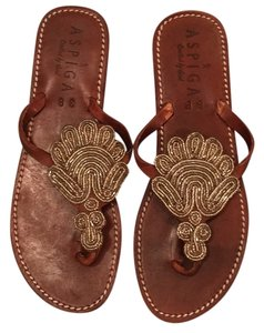 ASPIGA Brown, silver & clear beading Sandals