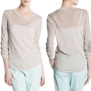 Mango Linen Elbow Patches Sweater